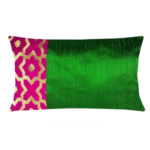 Hot Pink and Gold Moroccan Pattern Raw Silk Lumbar Pillow Cover