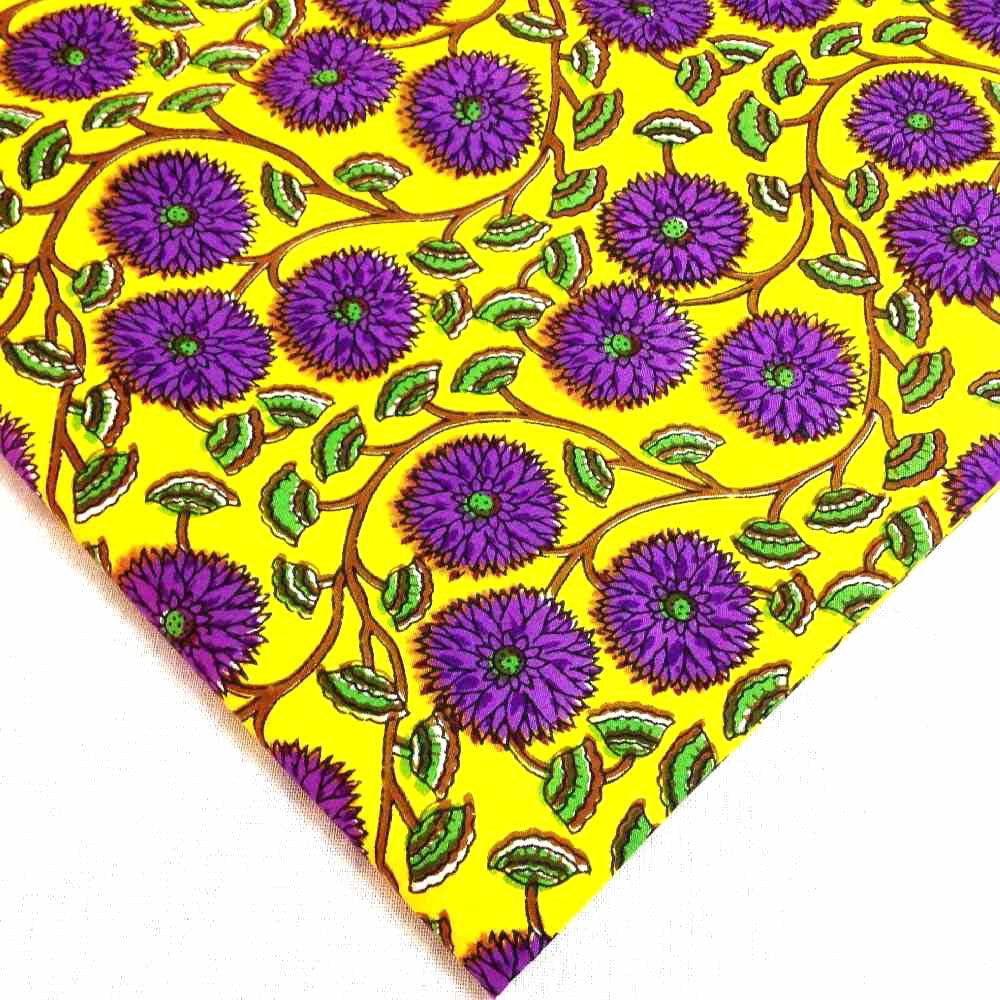 Yellow - Purple Block Print Pashmina Cotton
