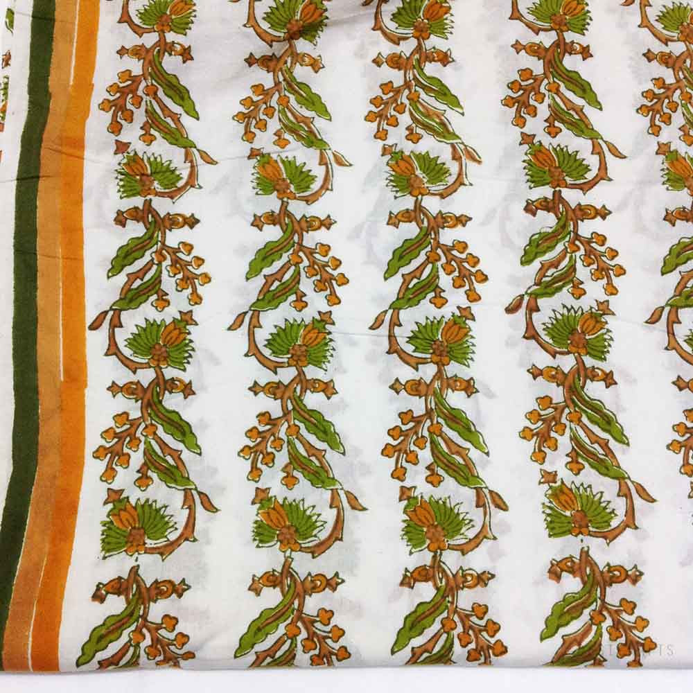 Orange White and Olive Printed Cotton Fabric