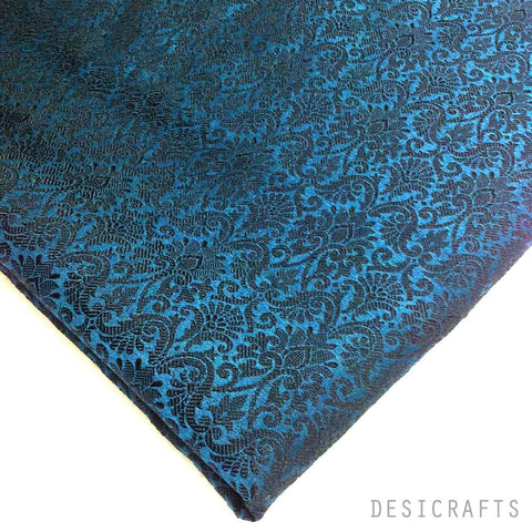 Teal and Black Brocade Fabric