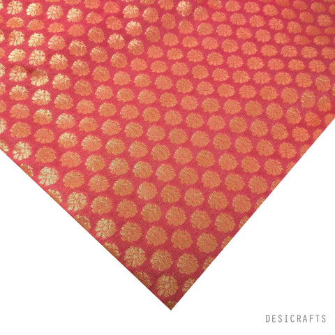Blush Pink Gold Banaras Silk Fabric