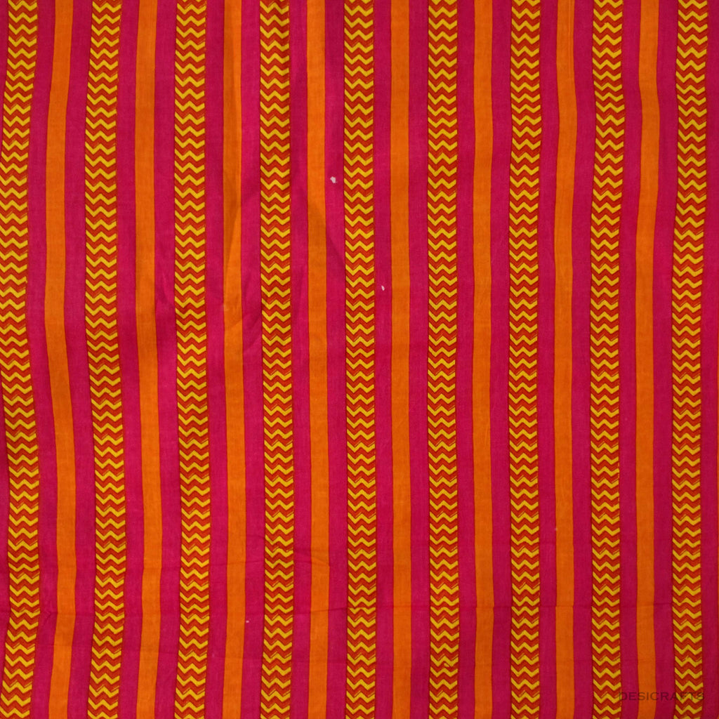 Orange Aztec Print Cotton Fabric