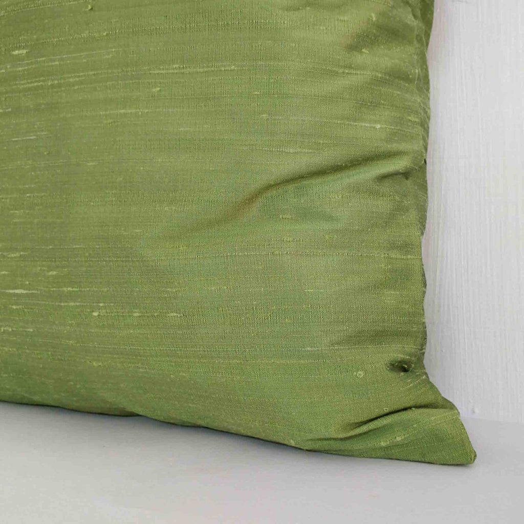 light green silk pillow cover