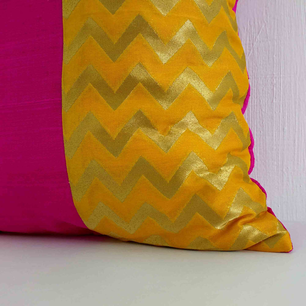 yellow and pink raw silk cushion cover