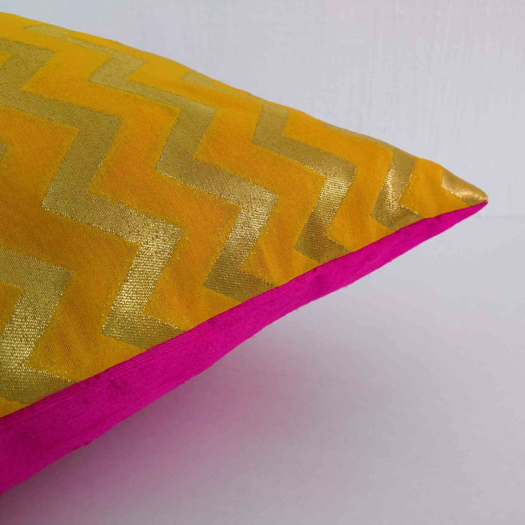 raw silk color block pillow cover