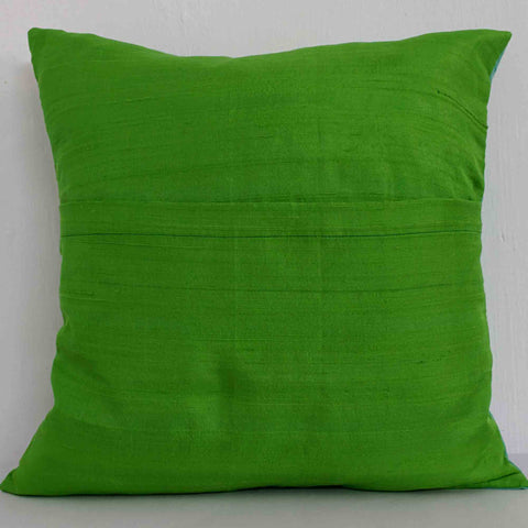 Mint and Green Color Block Raw Silk Throw Pillow Cover – DesiCrafts