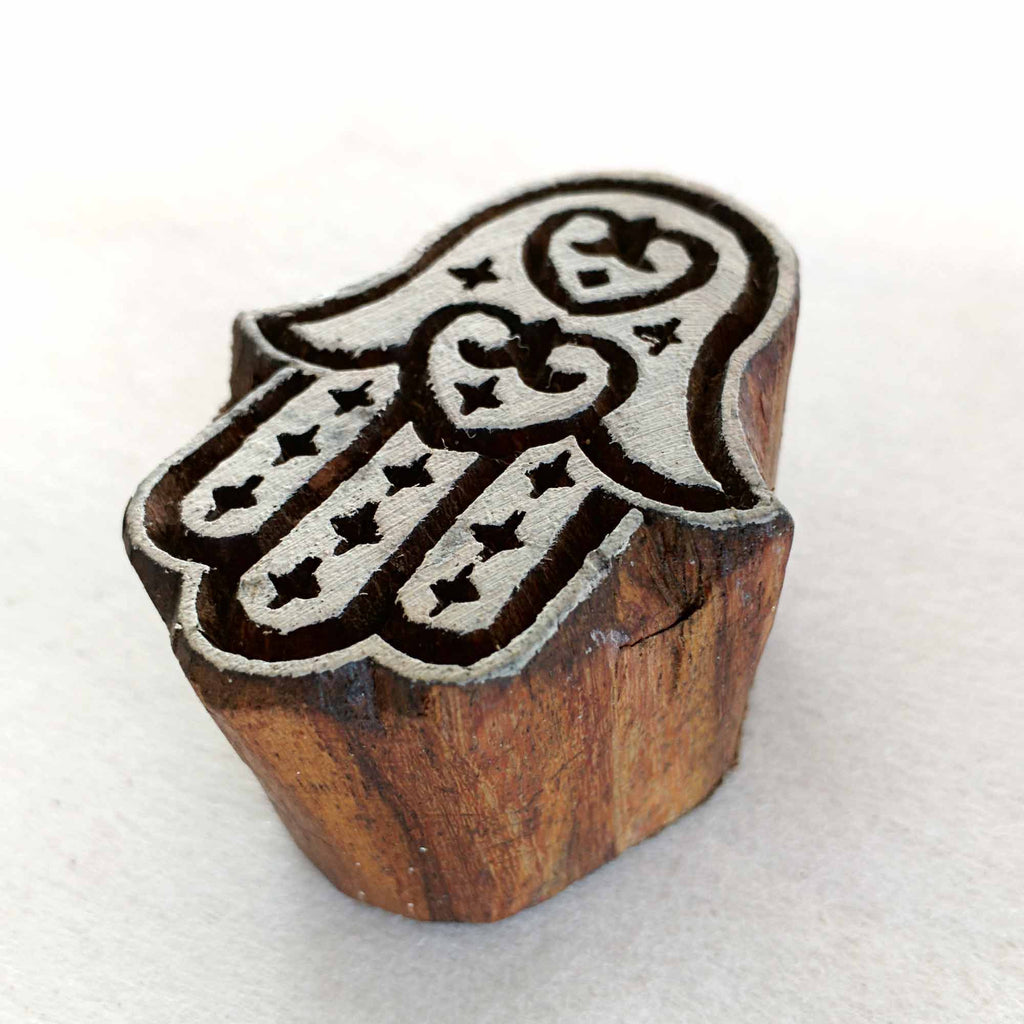 Hamsa Hand Wooden Stamp for Fabric Printing