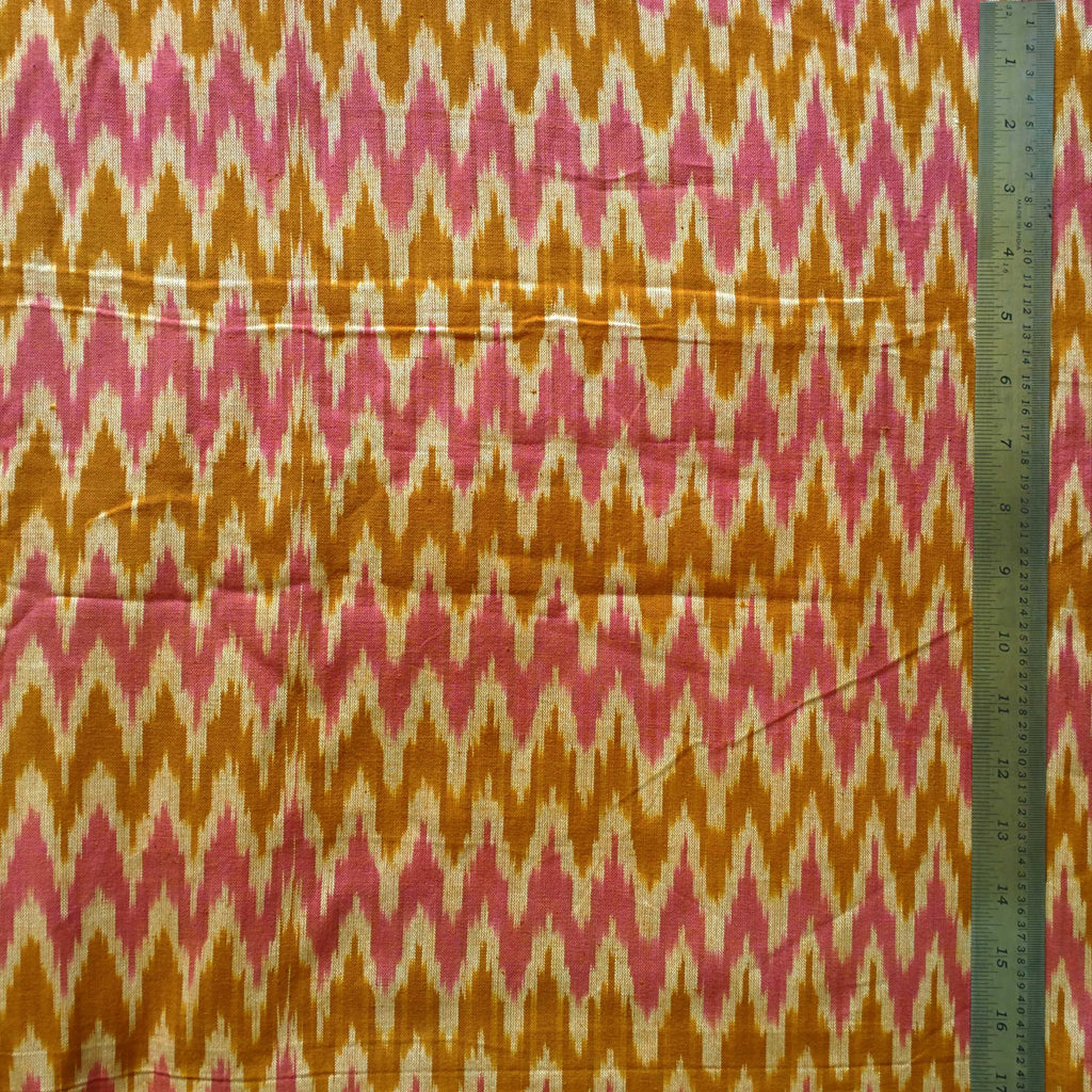 Pink and Mustard Handloom Cotton Ikat Fabric