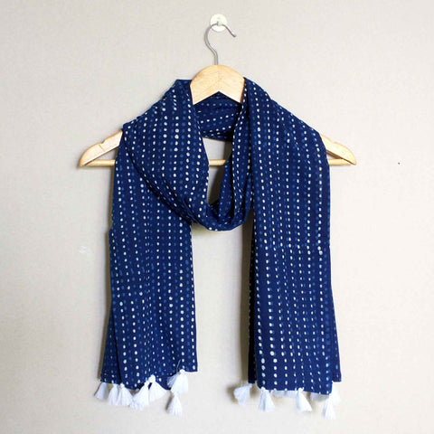 Indigo and White Cotton Stole