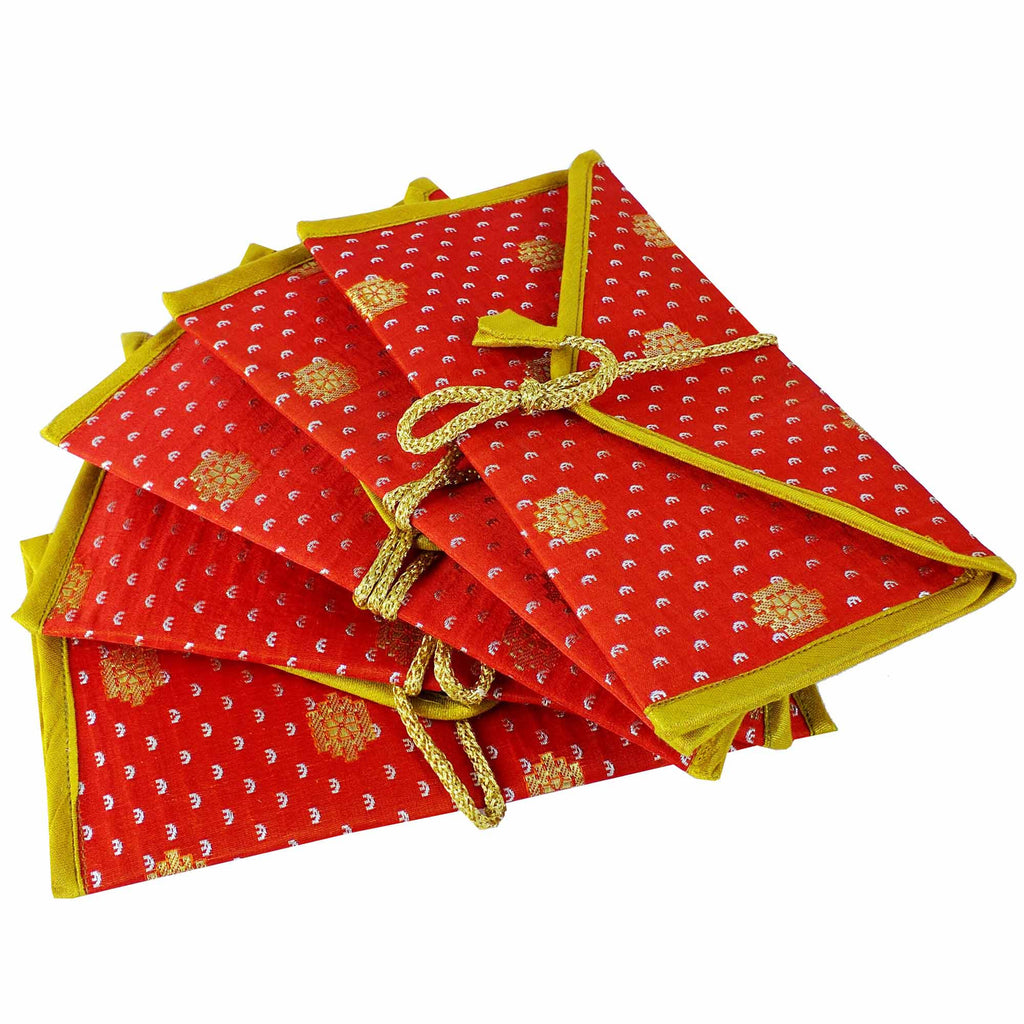 Orange Gold Banaras Silk Fabric Gift Envelopes