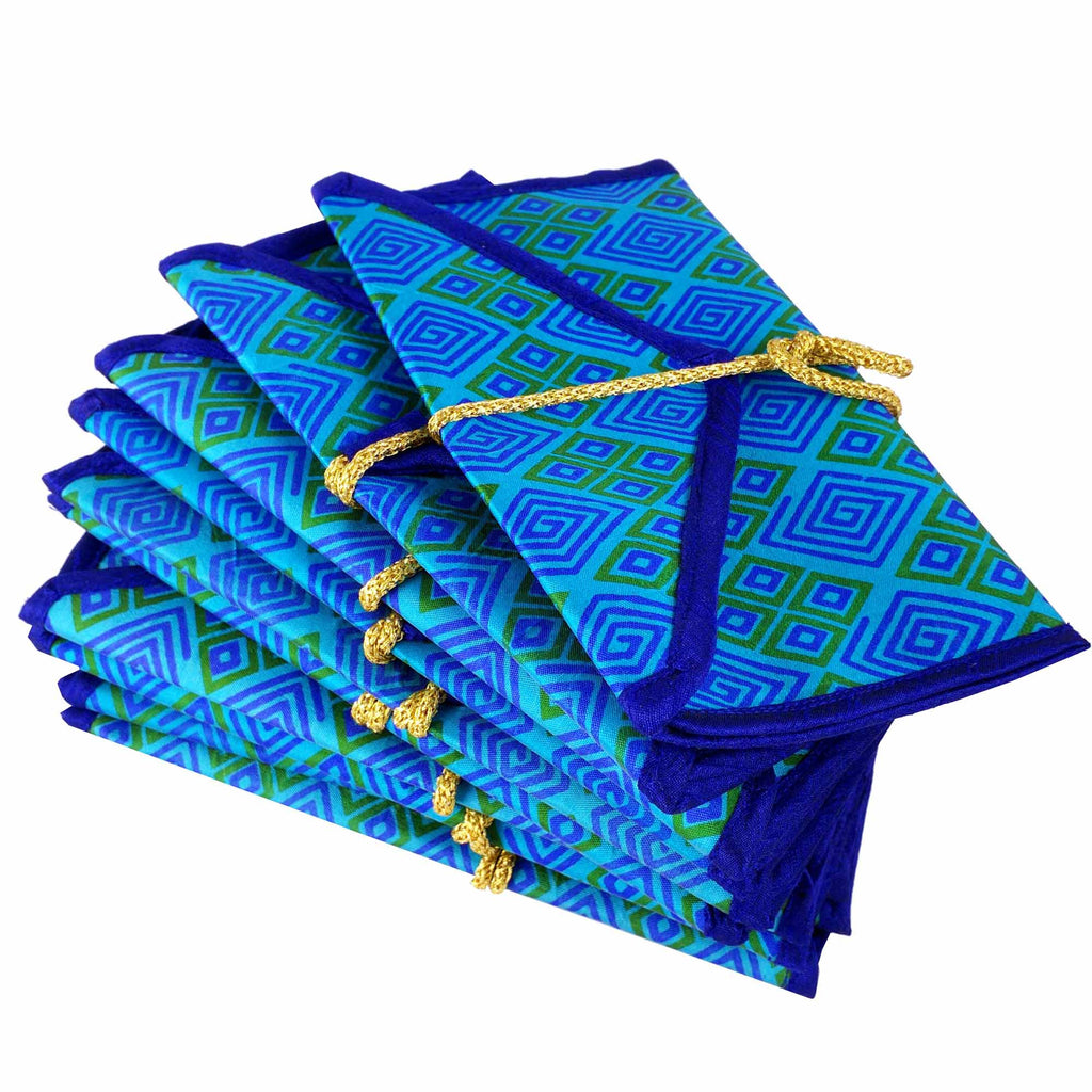Turquoise and Royal Blue Pure Silk Fabric Gift Envelopes