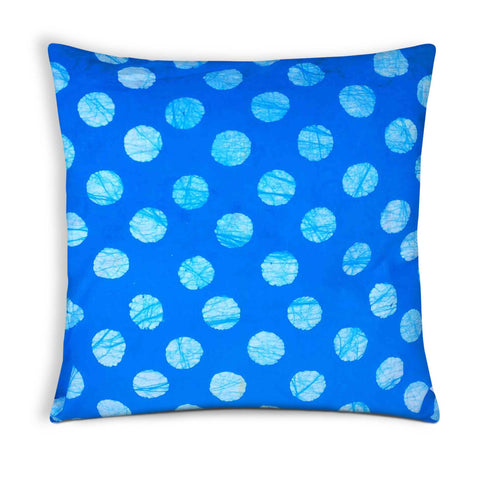Turquoise Polka Cotton Cushion Cover
