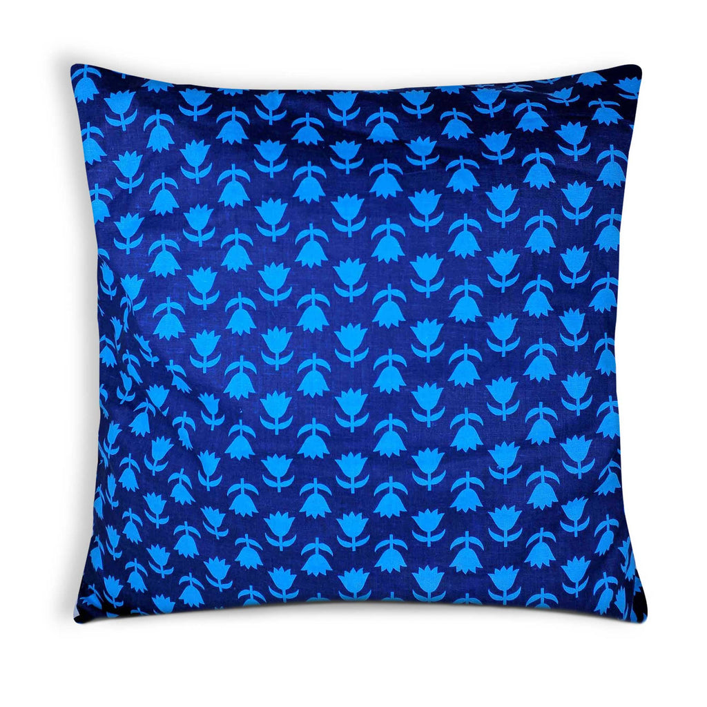 Turquoise and Blue Cotton Cushion Cover