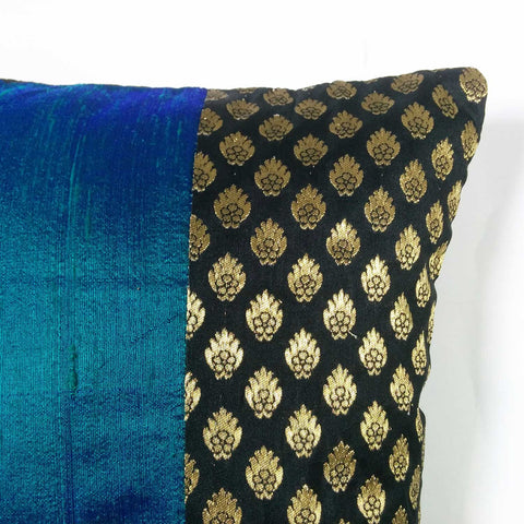Black Gold And Turquoise Raw Silk Color Block Pillow Cover