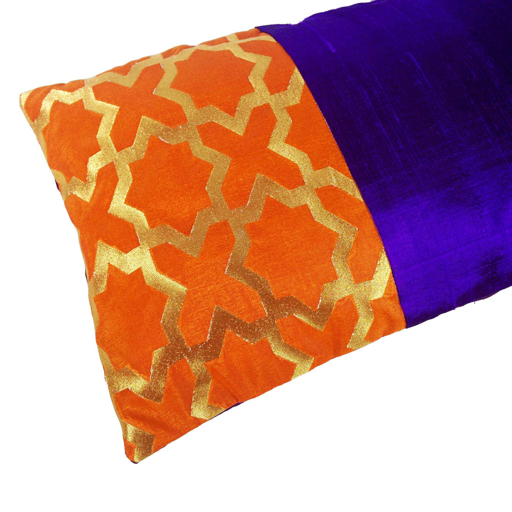 Orange and Purple Damask Raw Silk Lumber Pillow Cover Buy Online From India