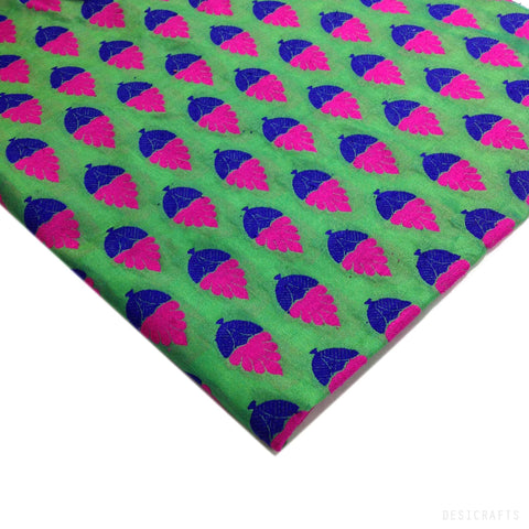 Sea Green and Hot Pink Silk Fabric