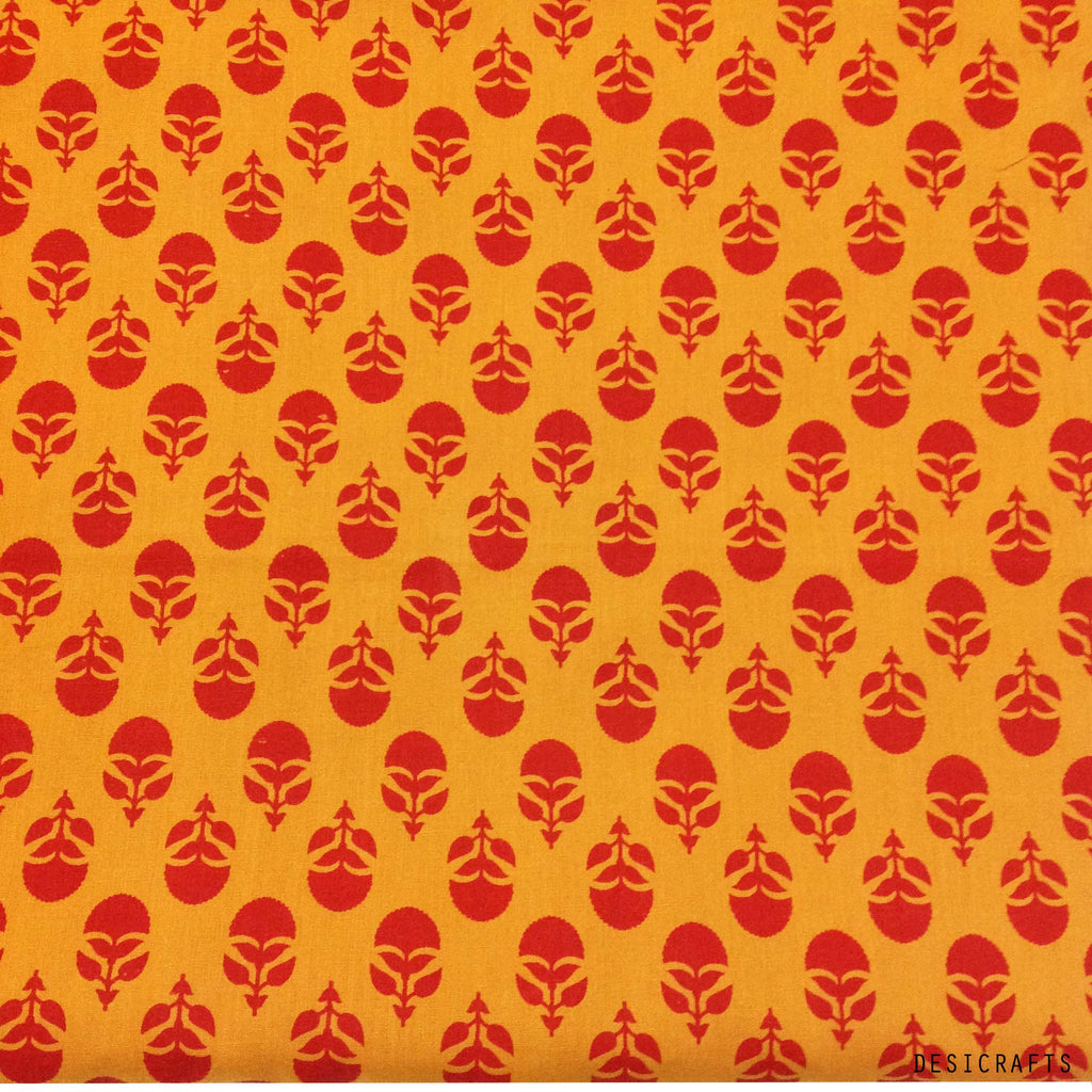 Tree Pattern Red and Orange Cotton Fabric