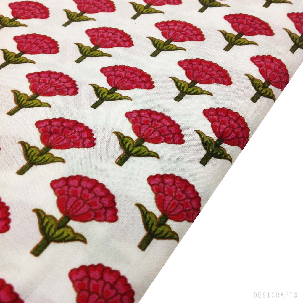 Tree Pattern Pink and White Cotton Fabric