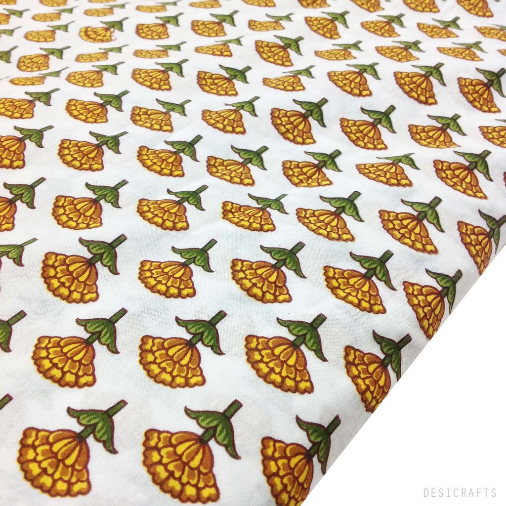 Tree Pattern Mustard and White Cotton Fabric