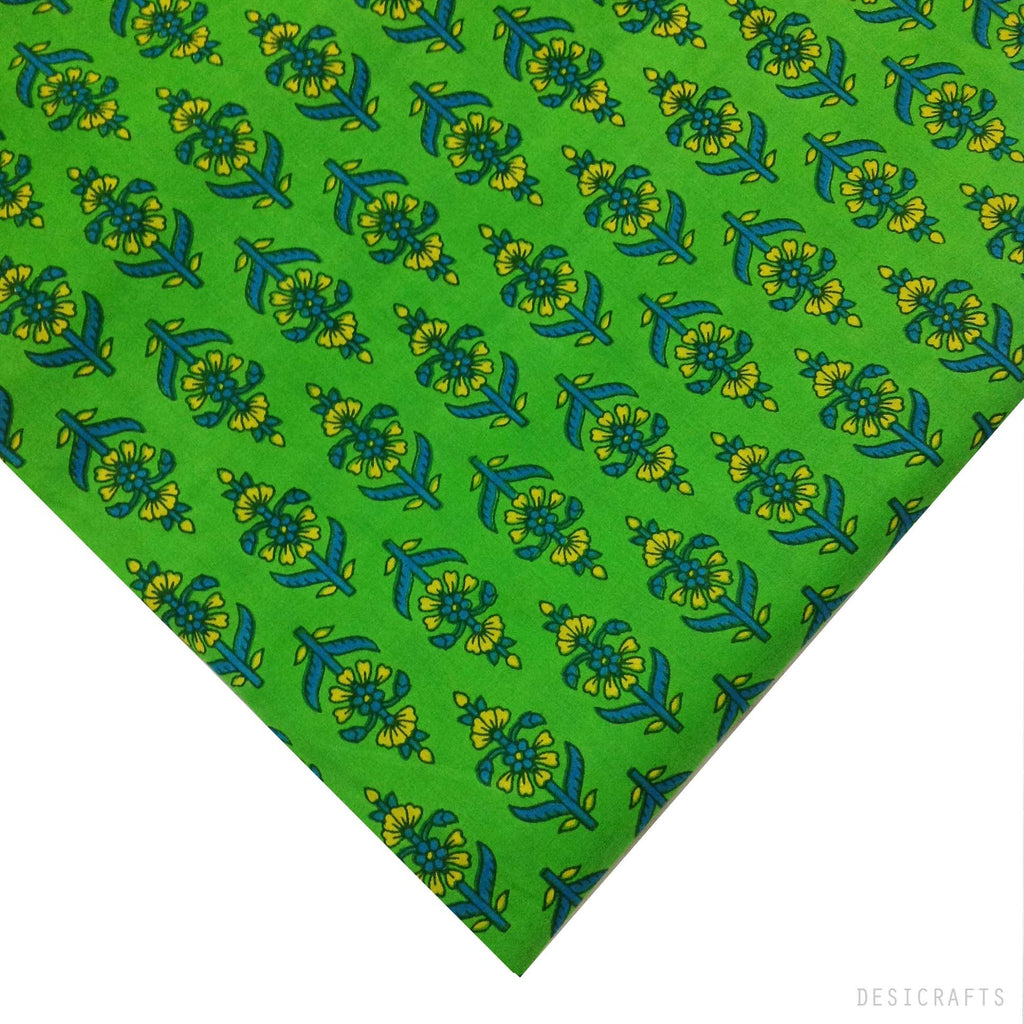 Tree Pattern Green and Blue Cotton Fabric