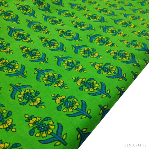 Tree Pattern Green And Blue Cotton Fabric Desicrafts