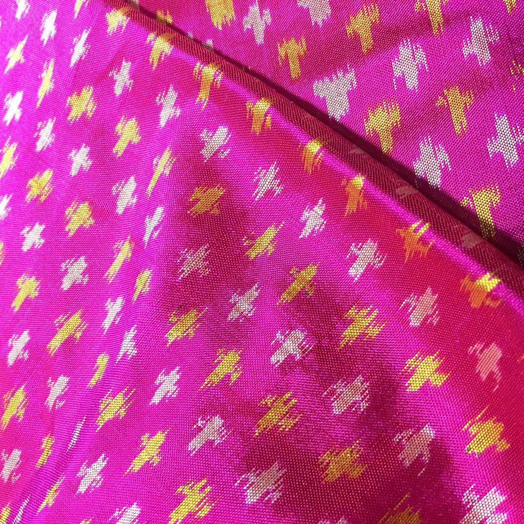 Hot Pink and Yellow Pochampalli Silk Fabric
