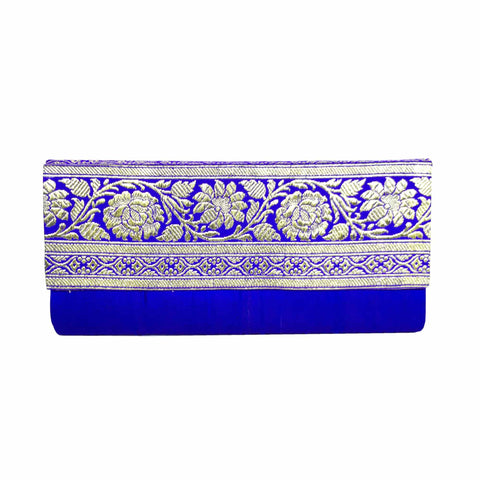Royal Blue and Silver Jamdani Clutch Purse