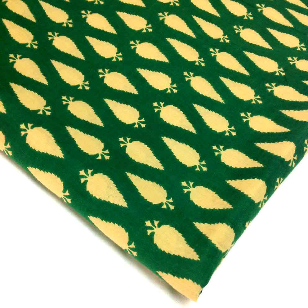 Emerald Green and Off White Printed Leaf Pattern Fabric