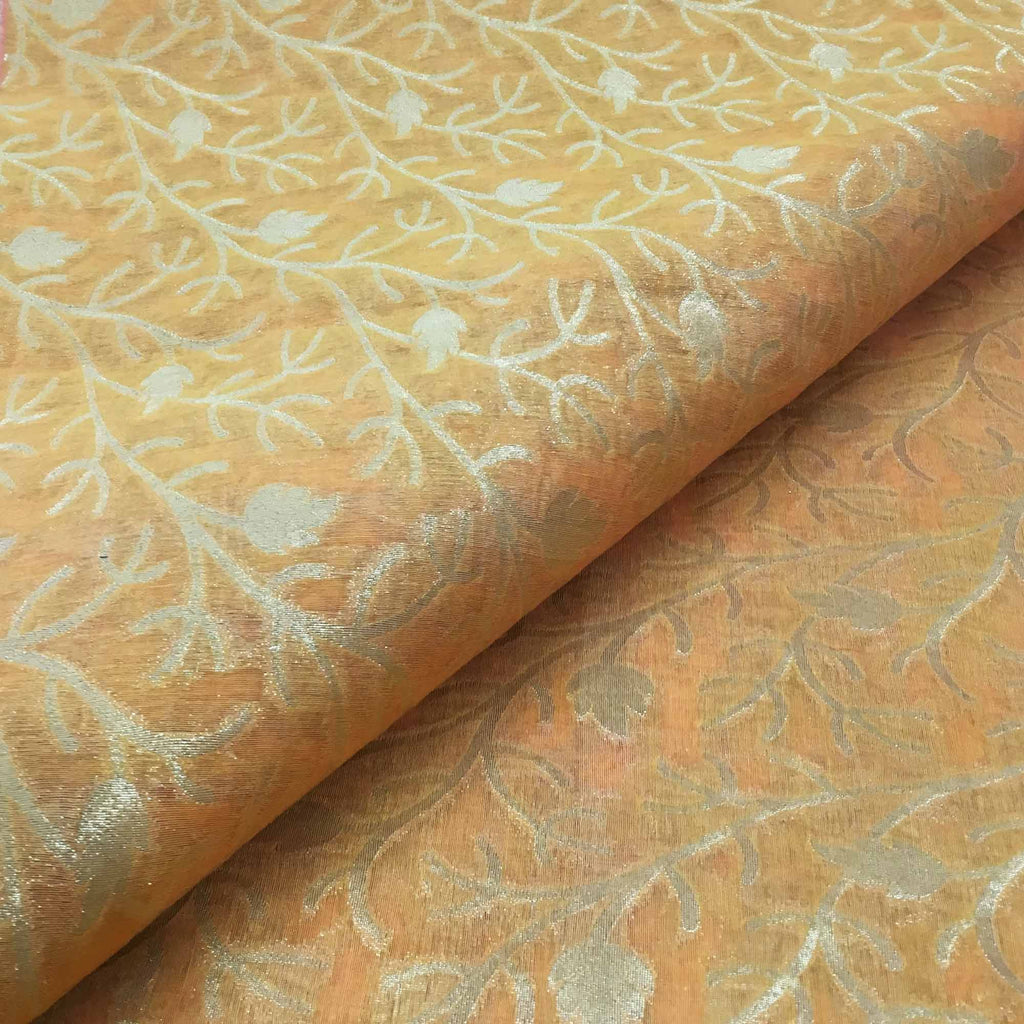 Banarasi silk fabric in peach and gold By DesiCrafts