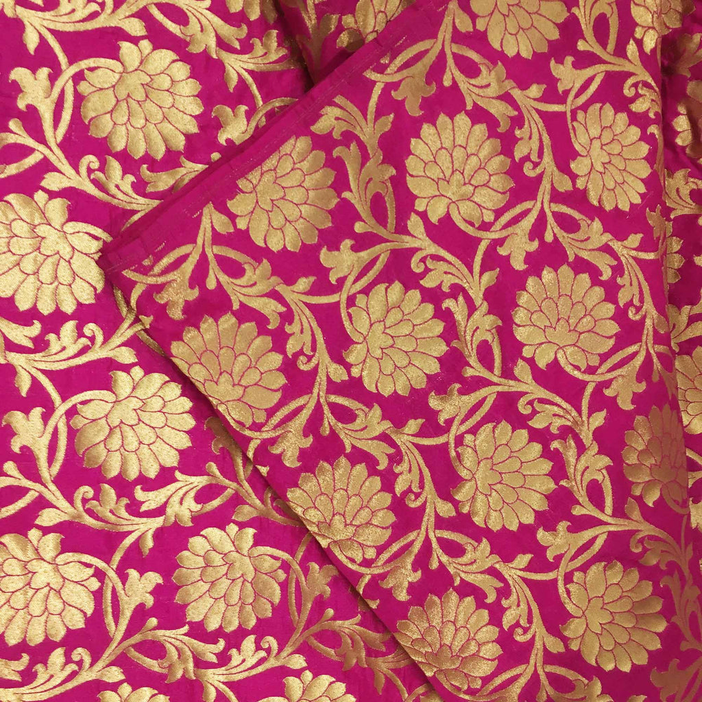 Handmade pink and gold banarasi fabric by DesiCrafts