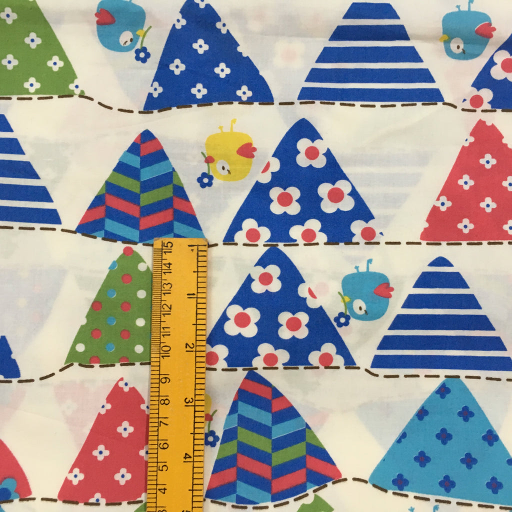 Cute Boats and Flowers Printed Cotton Fabric