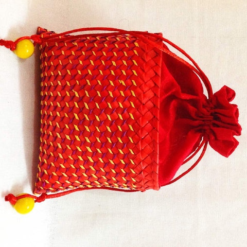 Red Palm Leaf Drawstrings Purse