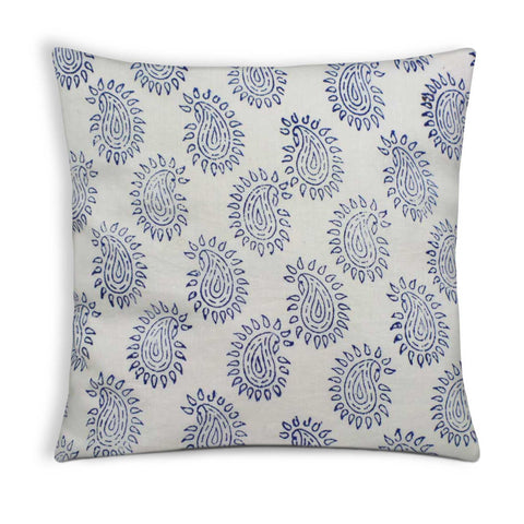 White and Blue Paisley cotton Pillow cover Buy online From DesiCrafts