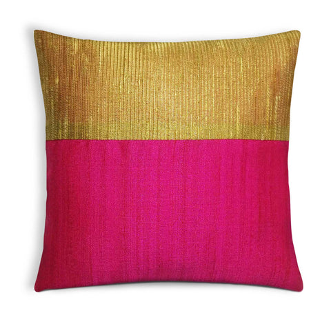 Hot Pink and Gold Silk Pillow