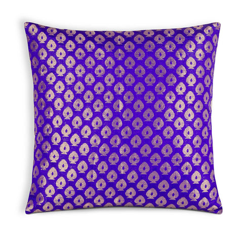 Purple and Gold Silk Pillow Cover