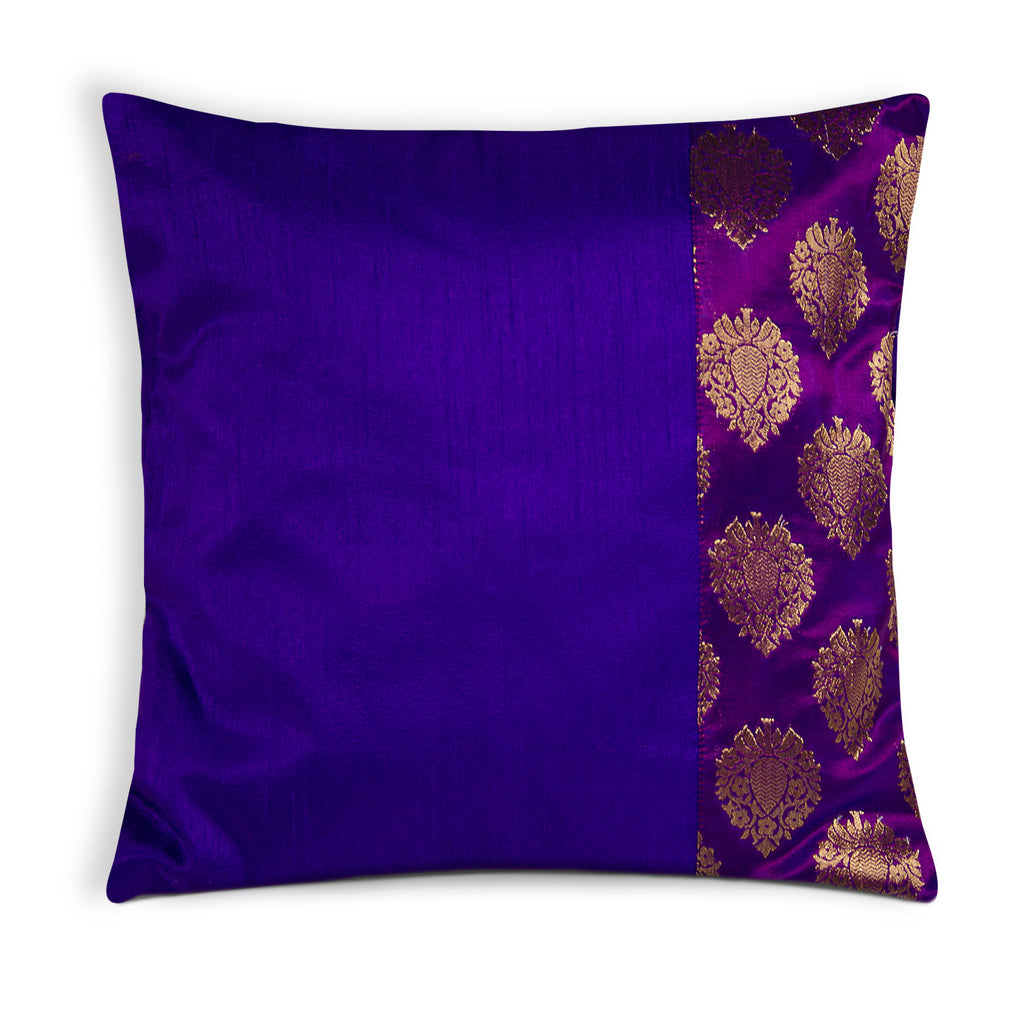 Purple and Gold Banaras Silk Pillow Cover