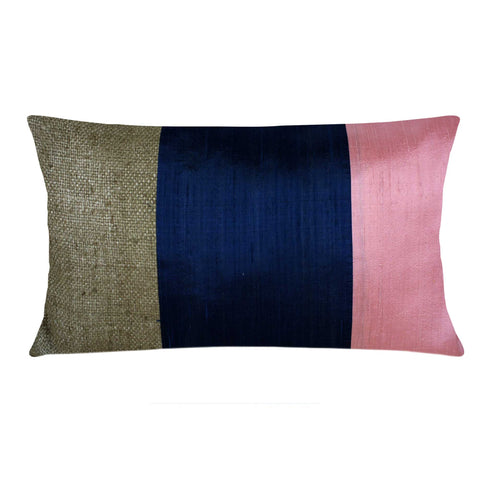 Pink and Blue Raw Silk Lumbar Pillow Cover