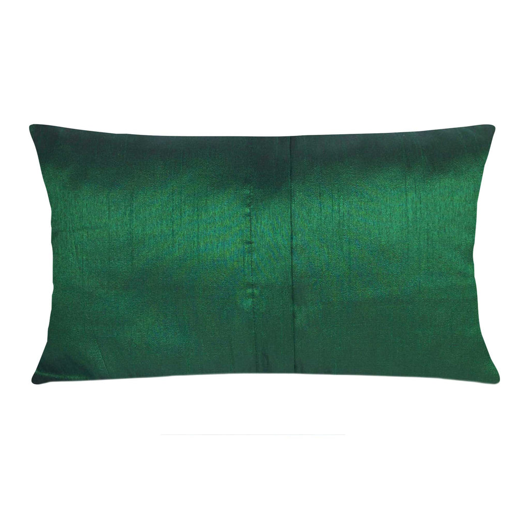 Green and Orange Damask Raw Silk Lumber Pillow Cover