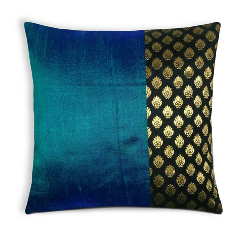Turquoise and Black and Gold Silk Pillow Cover