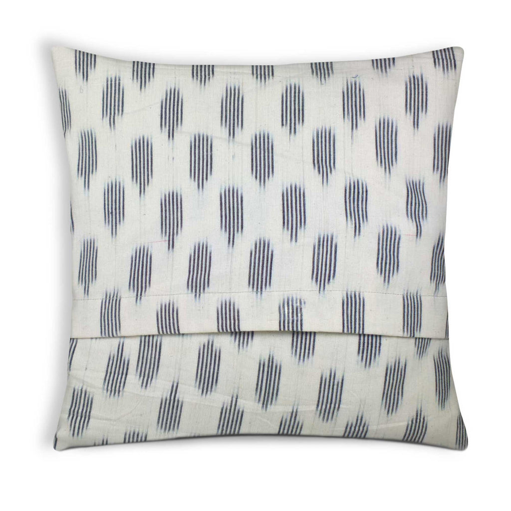 White and Black Ikat Diamond Cotton Pillow Cover