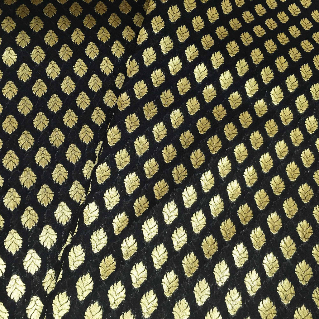 Black and gold floral banaras silk fabric