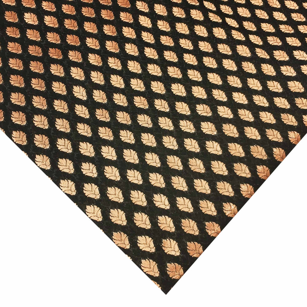 Black and gold banaras silk fabric