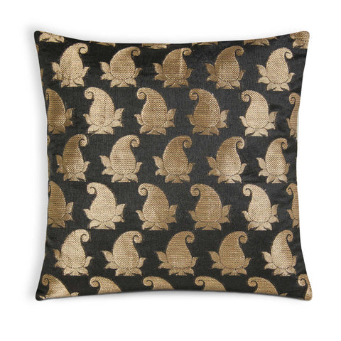 Black and gold silk pillow cover