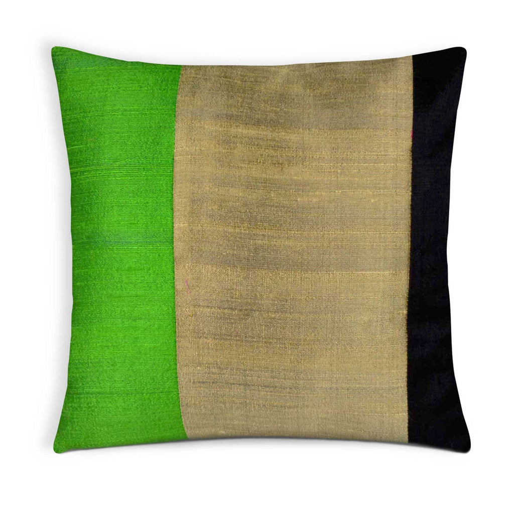 Black green and gold silk pillow cover buy online from DesiCrafts