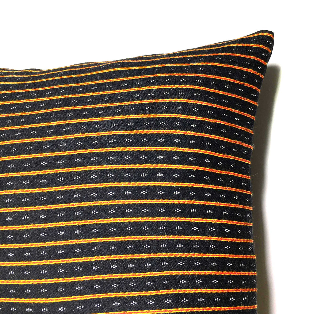 Black and Red Striped Mashru Silk Lumbar Cushion Cover