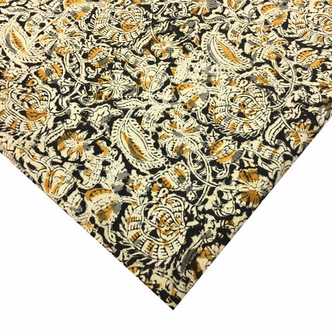 Black and Mustard Floral Kalamkari Fabric
