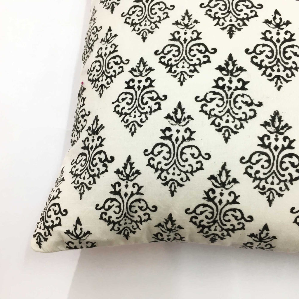 White and Black Damask Print Cotton Cushion Cover
