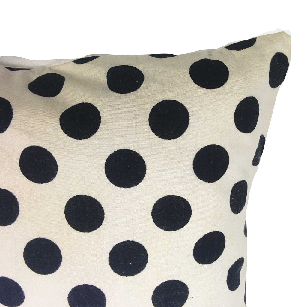 White and black polka cotton pillow cover buy online from India