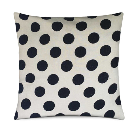 White and black polka cotton pillow cover buy online from DesiCrafts