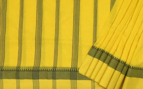 Yellow and Black Handloom Linen Cotton Sari